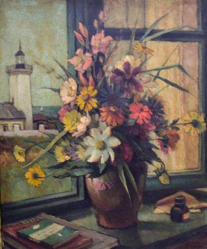 Ecole du XXème  Bouquet à la fenêtre  Huile...