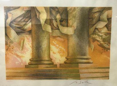 LA SALLE  Colonnes ioniques  Lithographie...