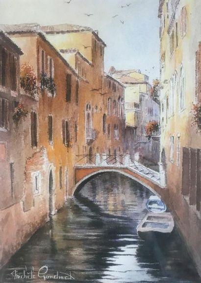 Michèle GONDINET  Canal à Venise  Reprographie...