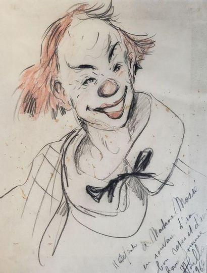 Ecole du XXème  Le Clown  Crayon sur papier...