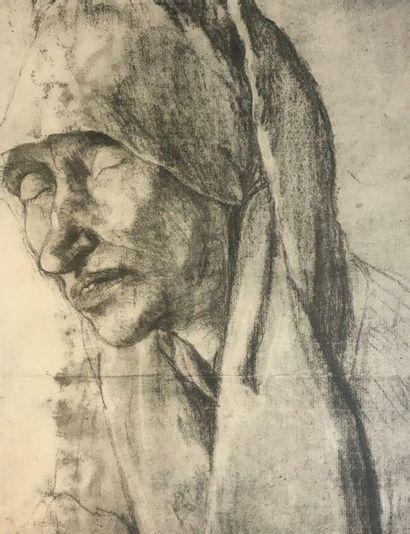 Ecole du XXème  Femme au foulard  Fusain...