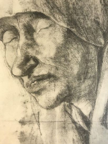 20th Century School  Woman with a scarf  Charcoal on paper  26.5 x 21 cm at sight...