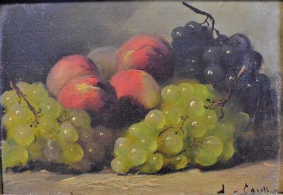 XIXème-XXème  Raisins et pêches  Huile sur...
