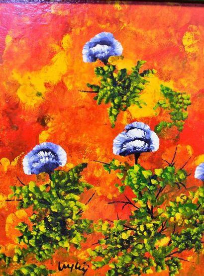 Edoardo PUGLISI (Leyleÿ) (1936-)  Blue Carnations  Oil on canvas  Signed lower left...