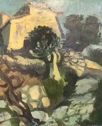 Jacques BARBACANNE (1922-)  Le Mas  Oil on canvas  64 x 53 cm