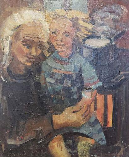 R. GONTAR  Femme et enfant à la cuisine  Huile...