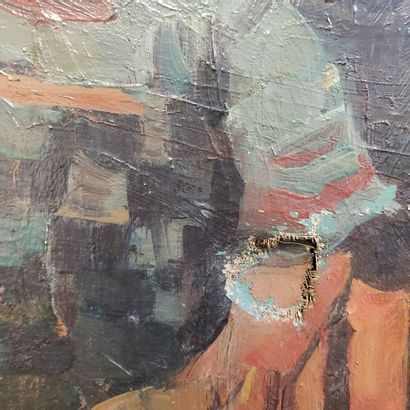 R. GONTAR  Woman and child in the kitchen  Oil on canvas  Signed lower left  55,5...