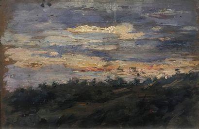 Ecole du XXème  Etang au coucher du soleil...