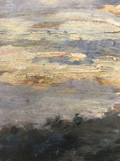 20th Century School  Pond at sunset  Oil on panel  15 x 23 cm at sight  (Newspaper...