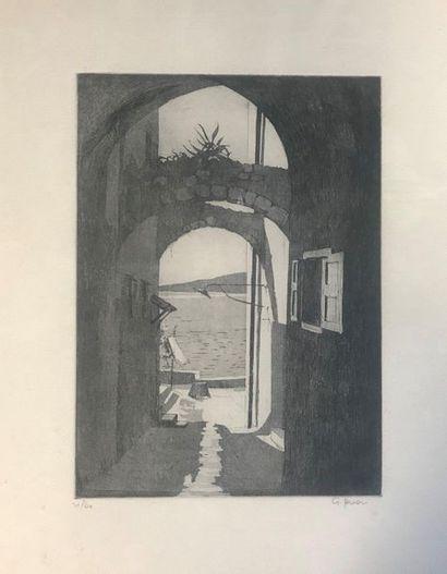 Rue de village sur la mer  Gravure  Signé...