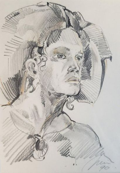 Set of portraits of men  3 pencils on paper  Signed lower right and dated 90 for...