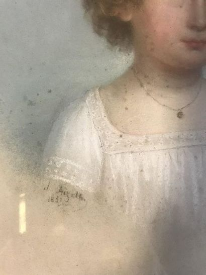 XIXème-XXème  Portrait d'enfant  Pastel  Signé et daté 1851en bas à gauche  29 x...