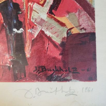 Jacques BUCHHOLZ (1909-?)  Abstract composition  Lithograph, artist's proof  Signed...