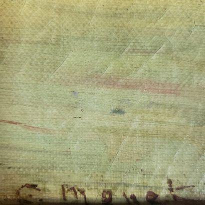 XIXth-XXth  Shoreline at dusk  Signed lower right C. Monet  39,2 x 25 cm  (Restorations,...