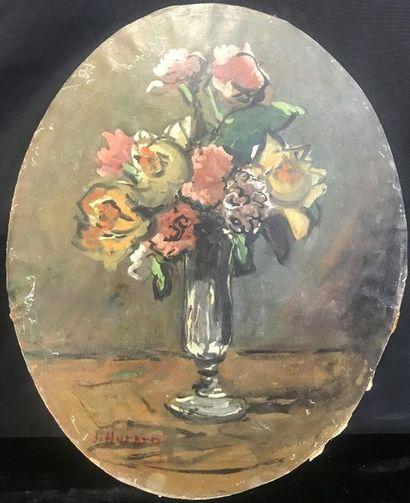 Joseph HURARD (1887-1956)  Bouquet of flowers  Oil on cardboard laminated on isorel...