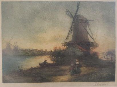 XIXeme  Paysage au moulin  Aquatinte  14,5x20...