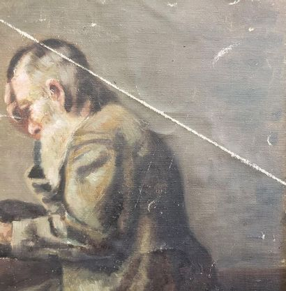 Man with the cane  Oil on isorel  40 x 26 cm  (Heavy scratching and rubbing)