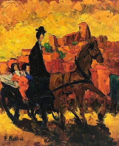 Emmanuel BELLINI (1904-1989)  Calèche à Cannes...