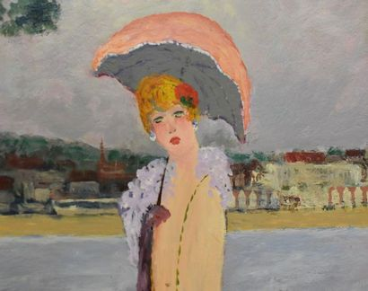 Ramon DILLEY (1932)  Michtilde in front of Deauville  Oil on canvas  Signed and...