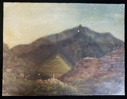 20th Century School  Mountain hamlet / The valley / The village  Set of two oils...