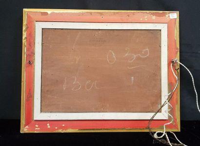 Ecole provençale du XXème  Etang  Huile sur bois  24,5 x 35 cm