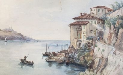 20th Century School  Villefranche / The pond  Set of two watercolours  Titled and...