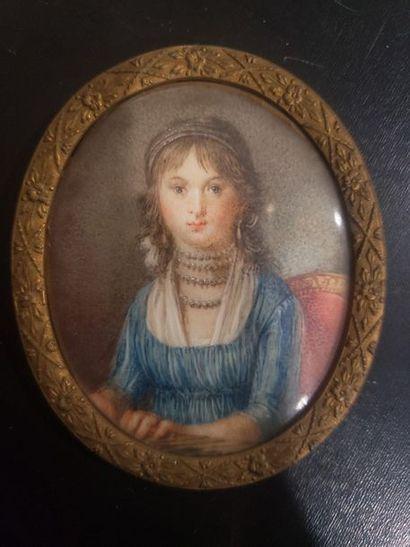 Ecole française début XIX ème  Portrait en...