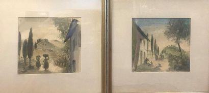 Paysages ruraux  Lot de 3 aquarelles, encre...