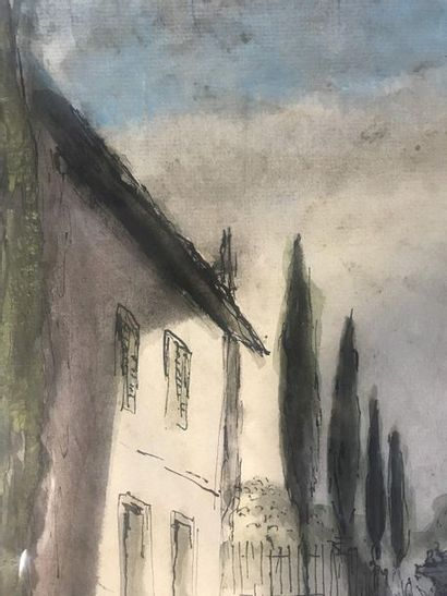 Rural Landscapes  Set of 3 watercolours, ink and pen  Of which two signed and dated...