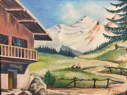Hans MUNZINGER (1877-1953)  Chalet in the mountains  Oil on canvas  Signed and dated...