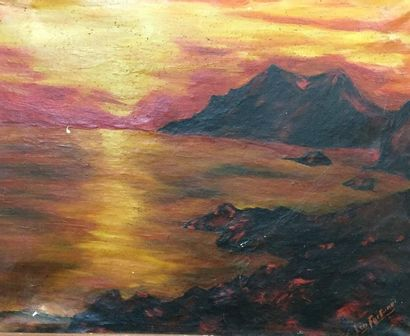 Leo FORTUNE  Bay at dusk  Oil on canvas  46 x 57 cm  (Cracking and peeling pain...