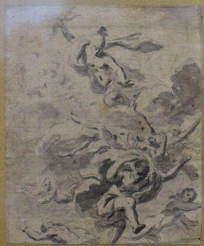 XVIIIème  La chute des Géants (?)  Pierre noire et lavis d'encre 13,5 x 11 cm (Piqûres)
