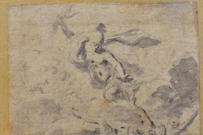 XVIIIème  La chute des Géants (?)  Pierre noire et lavis d'encre 13,5 x 11 cm (Piqûres)...