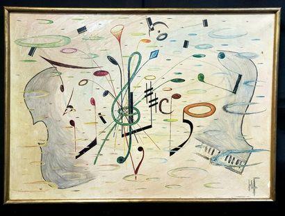 Ecole abstraite du XX ème  Notes de musique / Composition abstraite  Lot de deux...