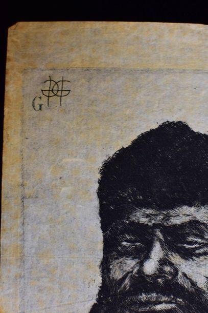 Visage symboliste  Gravure  Monogrammé GG en haut à gauche  20 x 14 cm