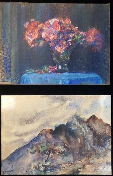 Éliane DIVERLY (1914-2012)  Bouquet of flowers...