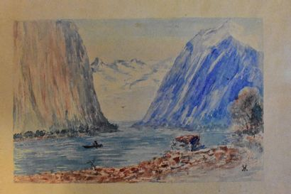 Boat in the mountains  Watercolour on paper...