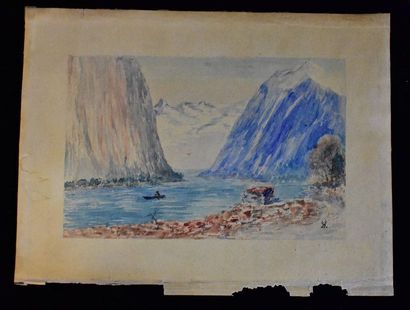 Boat in the mountains  Watercolour on paper  Monogrammed HV or MV bottom right  13...