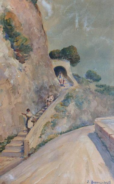 Jean BOMPARD (XXth)  Nice hinterland  Watercolour...