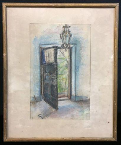 XXth  Open door  Pastel on paper  Signature at bottom left  32,5 x 21 cm