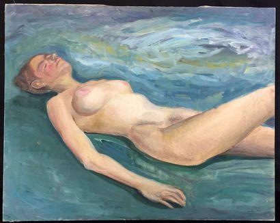 Claude LANTIER (XXth)  Nude of languid woman...