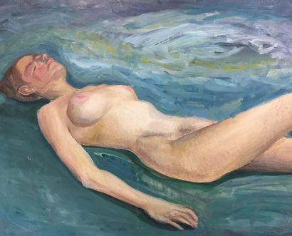 Claude LANTIER (XXth)  Nude of languid woman  72,5 x 92 cm  Signed lower right and...