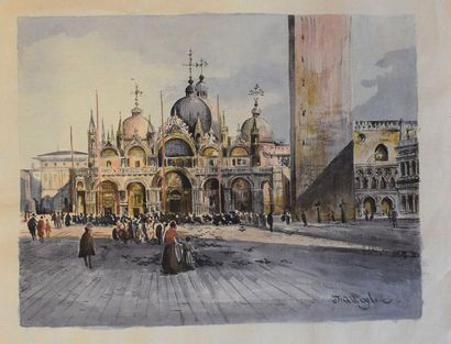 J. ALLEYLOVE (XIXème-XXème)  La basilique Saint Marc à Venise  Aquarelle sur papier...