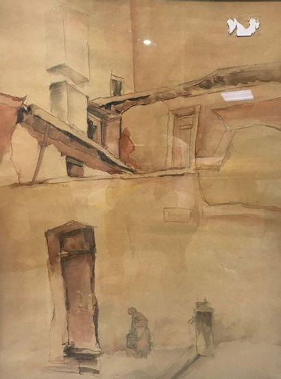 Antoine OLIVA (XXème)  Femme dans une ruelle  Aquarelle et fusain sur papier Signé en bas à gauche 70 x 52 cm à la vue