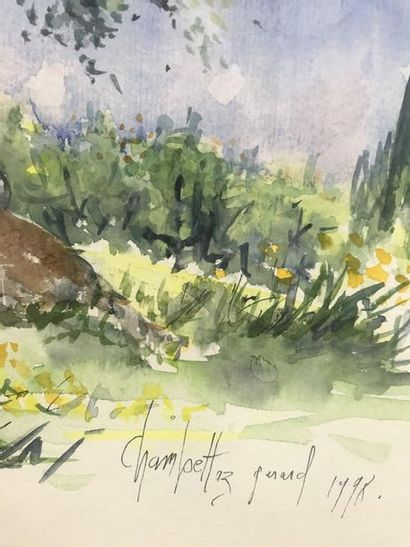 The olive trees  Watercolour  Signed lower right Gérard Champettaz (?) and dated...