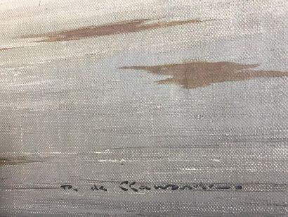 Ecole du XXème  Huile sur toile  Baie de Somme  61 x 92 cm  Signé en bas à droite...