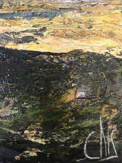 CHRIS (1955)  Espace marin  Huile sur toile  Signé en bas à droite, contresigné...