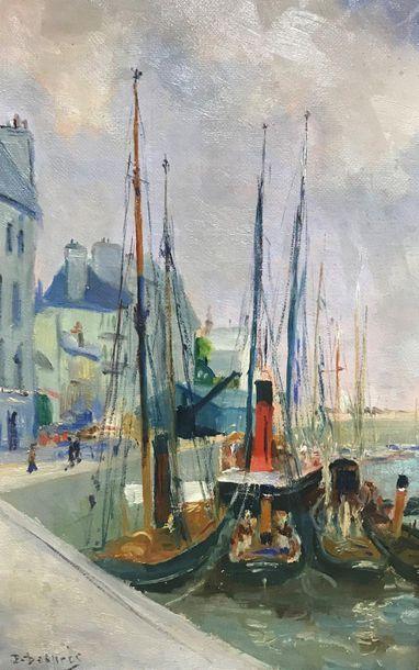 École moderne première moitié XX ème  Bateaux au port  Huile sur toile  Signé en...