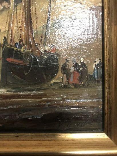 Ecole française du XIX ème  Paire de marines  Huiles sur panneau  Signées  18 x...