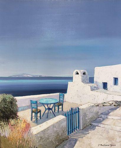 Jean-Pierre BERTEAUX MARAIS (1936-)  Greece  Oil on canvas  Signed lower right,...